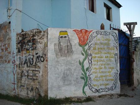 Paredón pintado para recordar a Martín