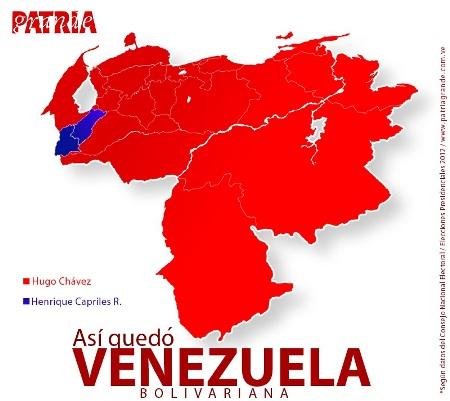 Estados en los que salieron victoriosos Chávez (rojo) y Capriles (azul)