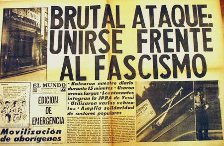Edición en la que El Mundo denuncia ataque a tiros a su redacción