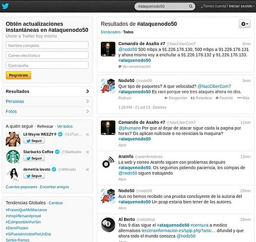 Conversación via Twitter con atacante bajo idéntidad de @NacCiberCom7
