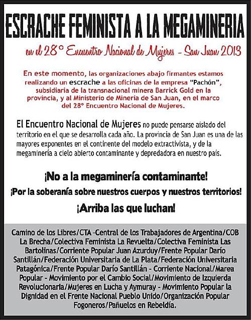 Afiche del escrache a la megaminería