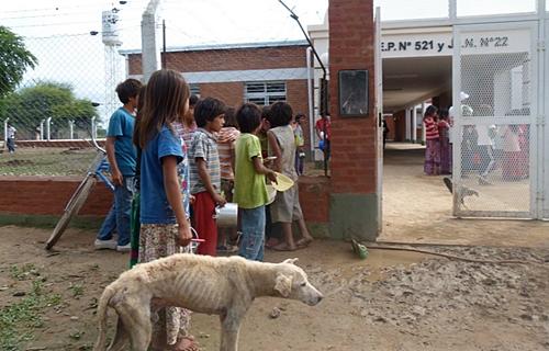 Niños wichí esperando alimento con tuppers y ollas frente a la escuela 521
