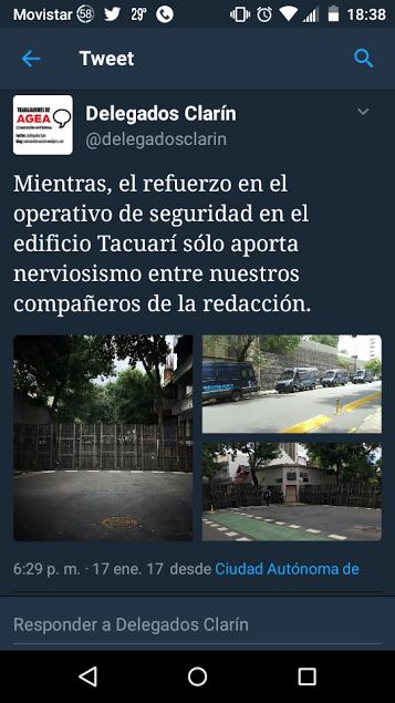 Mientras sucede la represión, trabajadores de Clarín muestran su preocupación por la presencia policial en el diario