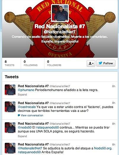 Perfil de Twitter @NetNationalism7 empleado por el atacante