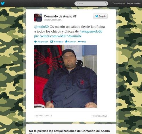 Imagen colgada por el perfil de twitter de @NacCiberCom7 para probar su autoría