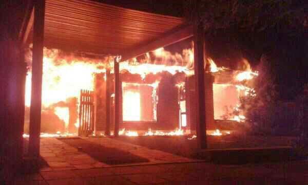 Casa incendiada del jefe de Seguridad municipal, Ricardo Triches.