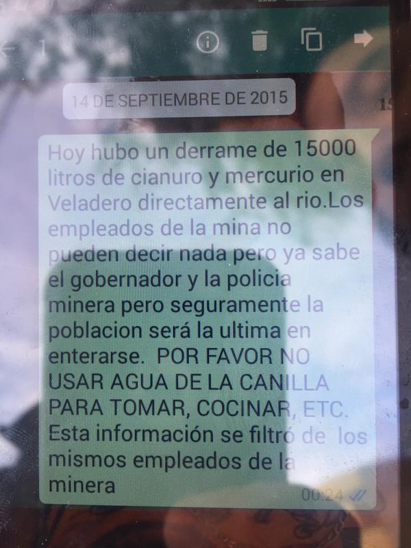El famoso mensaje de whatsaap que envió un obrero de la mina, al advertir a los vecinos de Jáchal sobre el derrame.