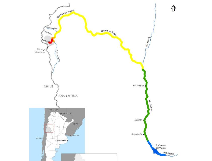 Mapa donde se señala la afectación de los rios por el derrame. Fuente: Naciones Unidas.